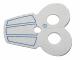 Part No: 14562pb01  Name: Minifigure, Armor Pauldron Cloth with Blue Stripes Pattern