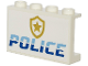 Part No: 14718pb028  Name: Panel 1 x 4 x 2 with Side Supports - Hollow Studs with Medium Blue and White 'POLICE' and Gold Star Badge Logo on White Background Pattern (Sticker)