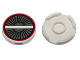 Part No: 14769pb022  Name: Tile, Round 2 x 2 with Bottom Stud Holder with Engine Inlet, Vanes, White Crossbar and Dark Red Circle Pattern