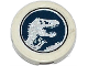 Part No: 14769pb074  Name: Tile, Round 2 x 2 with Bottom Stud Holder with Jurassic World Logo Pattern (Sticker) - Set 75919