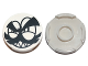 Part No: 14769pb079  Name: Tile, Round 2 x 2 with Bottom Stud Holder with Black Squinting Eyes, Moustache, Eyebrows and Grin with Sharp Teeth (Nixel Face) Pattern