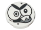 Part No: 14769pb147  Name: Tile, Round 2 x 2 with Bottom Stud Holder with Black Large Eyes, Eyebrows, Open Mouth with 2 Sharp Teeth (Nixel Face) Pattern