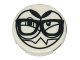 Part No: 14769pb149  Name: Tile, Round 2 x 2 with Bottom Stud Holder with Black Large Eyes, Eyebrows, Sharp Teeth and Glasses (Nixel Face) Pattern