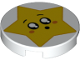 Part No: 14769pb249  Name: Tile, Round 2 x 2 with Bottom Stud Holder with Star Face, Round Mouth, Black Eyes with White Pupils, Raised Eyebrows, Orange Cheeks Pattern