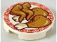 Part No: 14769pb253  Name: Tile, Round 2 x 2 with Bottom Stud Holder with Medium Dark Flesh Chicken Wings and Legs on Plate with Red Border Pattern