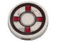 Part No: 14769pb287  Name: Tile, Round 2 x 2 with Bottom Stud Holder with Dark Red and White Life Preserver, Gray Stains Pattern (Sticker) - Set 70419
