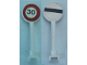 Part No: 14pb07  Name: Road Sign Round with Black '30' and Red Circle on Front, Black Bar Pattern on Back (Stickers)
