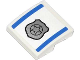 Part No: 15068pb003  Name: Slope, Curved 2 x 2 with 2 Blue Stripes and Silver Police Badge Pattern (Sticker) - Set 60042