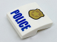 Part No: 15068pb046  Name: Slope, Curved 2 x 2 No Studs with Gold Badge and Blue 'POLICE' Pattern