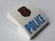 Part No: 15068pb046b  Name: Slope, Curved 2 x 2 with Copper Badge with Black Outline on Badge and Star and Blue 'POLICE' Pattern