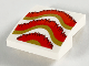 Part No: 15068pb225  Name: Slope, Curved 2 x 2 with Dark Red, Red, and Gold Fringe Pattern