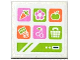 Part No: 15210pb013  Name: Road Sign 2 x 2 Square with Open O Clip with Carrot, Flower, Apple, Money, Cherry and Basket Icons on Screen Pattern (Sticker) - Set 41108