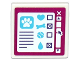 Part No: 15210pb024  Name: Road Sign Clip-on 2 x 2 Square Open O Clip with Paw Print, Heart, Bone, Tennis Ball and Water Drop on Computer Screen Pattern (Sticker) - Set 41124