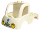 Part No: 15453pb01  Name: Duplo Car Body Truck 4 x 4 Flatbed with 2 Top Studs, Grille and Headlights, EMT Star of Life Pattern