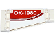 Part No: 18945pb003L  Name: Technic, Panel Plate 5 x 11 x 1 Tapered with Red Stripe and 'OK-1980' on Red Background Pattern Model Left Side (Sticker) - Set 42040