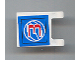 Part No: 2335pb045  Name: Flag 2 x 2 Square with Red Number 3 on Blue Background with White Basketball Pattern (Sticker) - Set 3432
