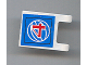 Part No: 2335pb046  Name: Flag 2 x 2 Square with Red Number 4 on Blue Background with White Basketball Pattern (Sticker) - Set 3432