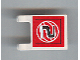 Part No: 2335pb049  Name: Flag 2 x 2 Square with Black Number 2 on Red Background with White Basketball Pattern (Sticker) - Set 3432