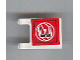 Part No: 2335pb050  Name: Flag 2 x 2 Square with Black Number 3 on Red Background with White Basketball Pattern (Sticker) - Set 3432