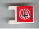 Part No: 2335pb051  Name: Flag 2 x 2 Square with Black Number 4 on Red Background with White Basketball Pattern (Sticker) - Set 3432
