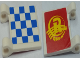 Part No: 2335pb067  Name: Flag 2 x 2 Square with Checkered Blue Pattern on One Side and Yellow 'RACER MOTORS' on Red Pattern on Back (Clips to Right) Side (Stickers) - Set 8161