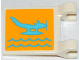 Part No: 2335pb101  Name: Flag 2 x 2 Square with Medium Azure Seaplane and Waves on Yellow Background Pattern on Both Sides (Stickers) - Set 3063
