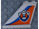 Part No: 2340pb068L  Name: Tail 4 x 1 x 3 with Coast Guard Logo on Orange and Blue Curved Stripes Pattern Model Left Side (Sticker) - Set 60164