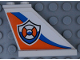 Part No: 2340pb068R  Name: Tail 4 x 1 x 3 with Coast Guard Logo on Orange and Blue Curved Stripes Pattern Model Right Side (Sticker) - Set 60164