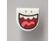 Part No: 24246pb017  Name: Tile, Round 1 x 1 Half Circle Extended (Stadium) with Big Open Mouth, Teeth and Tongue Pattern