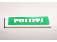 Part No: 2431pb012  Name: Tile 1 x 4 with White 'POLIZEI' on Green Background Pattern (Sticker)