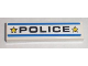 Part No: 2431pb133  Name: Tile 1 x 4 with Black 'POLICE', Yellow Stars and Blue Stripes Pattern (Sticker) - Set 8211