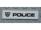 Part No: 2431pb188R  Name: Tile 1 x 4 with Police Silver Star Badge and Black 'POLICE' on White Background Pattern Model Right Side (Sticker) - Set 8186
