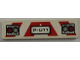 Part No: 2431pb195  Name: Tile 1 x 4 with Red and Silver Lights and 'P-U11' License Plate and Red and White Danger Stripes Pattern (Sticker) - Set 8186