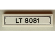 Part No: 2431pb535  Name: Tile 1 x 4 with Black 'LT 8081' License Plate and 4 Rivets Pattern (Sticker) - Set 8081