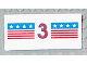 Part No: 2440pb010  Name: Hinge Panel 6 x 3 with Red and Blue Stripes with Red Number 3 and White Stars Pattern (Sticker) - Set 1821