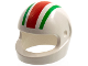 Part No: 2446px1  Name: Minifigure, Headgear Helmet Standard with 1 Red and 2 Green Stripes Pattern