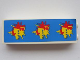 Part No: 2454pb037  Name: Brick 1 x 2 x 5 with 3 Red Asian Characters on Yellow Splash and Blue Background Pattern (Sticker) - Set 8161