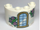 Part No: 24593pb06  Name: Cylinder Half 2 x 4 x 2 with 1 x 2 Cutout with Gold Trim Window and Green Leaves with Metallic Pink Flowers Pattern