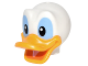 Part No: 24633pb01  Name: Minifigure, Head Modified Duck with Bright Light Orange Bill and Black and Medium Blue Eyes Pattern (Donald)