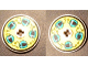 Part No: 2958pb005b  Name: Technic, Disk 3 x 3 with Dark Turquoise Helmets on Yellow Pattern on Both Sides (Stickers) - Set 8257