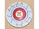 Part No: 2958pb052  Name: Technic, Disk 3 x 3 with Light Gray Border Around Red Circle Pattern (Sticker) - Sets 8482 / 8483