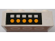 Part No: 3001pb015  Name: Brick 2 x 4 with 5 White Squares and 5 Yellow Dots on Black Background Pattern (Sticker) - Set 4025