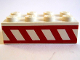Part No: 3001pb023  Name: Brick 2 x 4 with Angled Red Stripes Between Two Horizontal Red Stripes Pattern