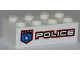 Part No: 3001pb089L  Name: Brick 2 x 4 with Police White Star Badge and White 'POLICE' with Red Outline Pattern Model Left Side (Sticker) - Set 8301