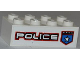 Part No: 3001pb089R  Name: Brick 2 x 4 with Police White Star Badge and White 'POLICE' with Red Outline Pattern Model Right Side (Sticker) - Set 8301