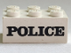 Part No: 3002oldpb06  Name: Brick 2 x 3 with Black 'POLICE' Serif Bold Pattern (Embossed)