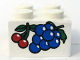 Part No: 3003pb013  Name: Brick 2 x 2 with Grapes and Cherries Pattern (Sticker) - Set 4165