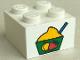 Part No: 3003pb021  Name: Brick 2 x 2 with Bowl of Ice Cream Sherbet Pattern (Sticker) - Set 4165