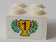 Part No: 3003pb115  Name: Brick 2 x 2 with Black Number 1 on Yellow Trophy Cup and Laurels Pattern (Sticker) - Set 6337