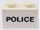 Part No: 3004pb003  Name: Brick 1 x 2 with Black 'POLICE' Pattern